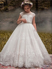 Girls Crossing Lace Communion Dress - White / 2T - Girls Gowns