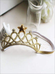 Girls Crown Headband - Gold - accessories