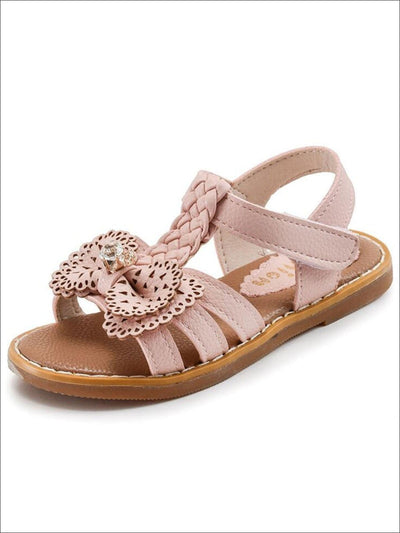 Girls Crystal and Bow Embellished Sandals By Liv and Mia - Pink / 9.5 - Girls Sandals