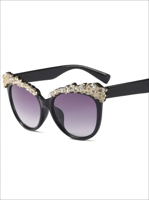 Girls Crystal Embellished Cat Eye Sunglasses - Black - Girls Accessories