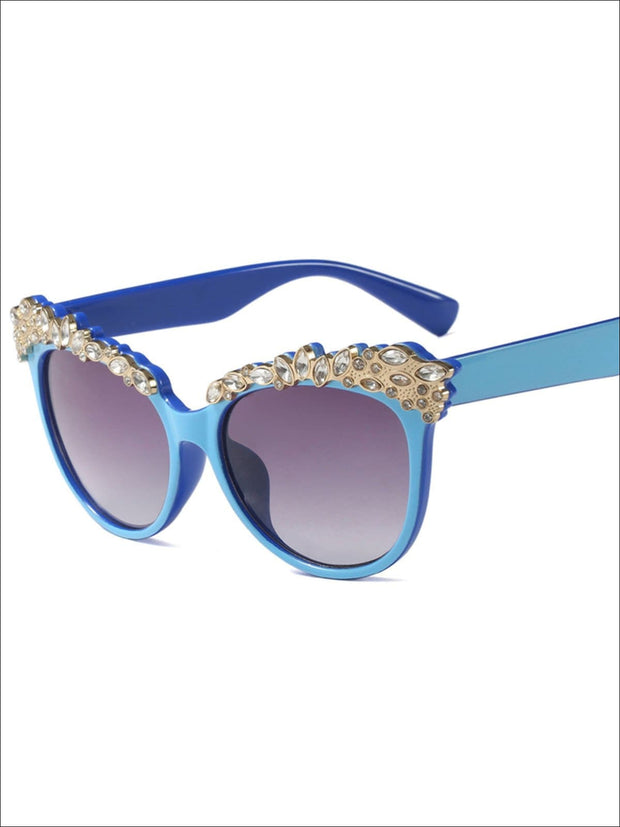 Girls Crystal Embellished Cat Eye Sunglasses - Blue - Girls Accessories