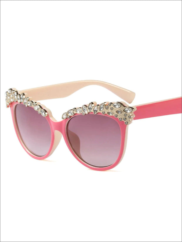 Girls Crystal Embellished Cat Eye Sunglasses - Pink - Girls Accessories