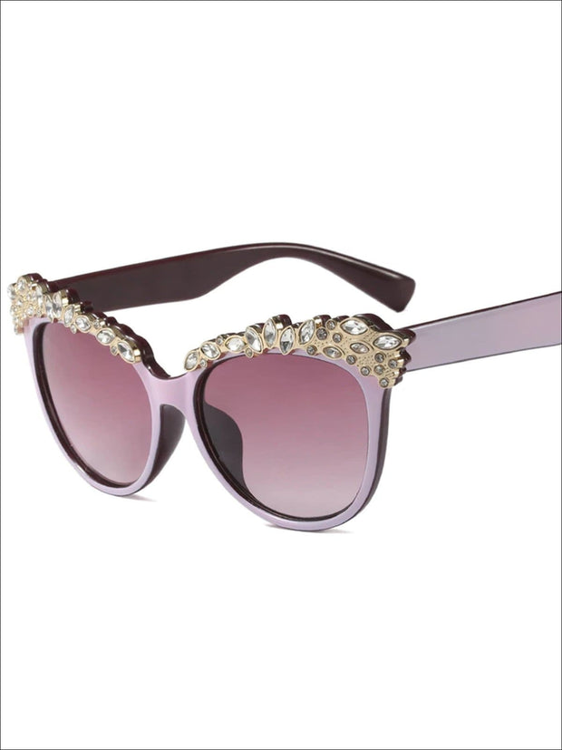 Girls Crystal Embellished Cat Eye Sunglasses - Purple - Girls Accessories