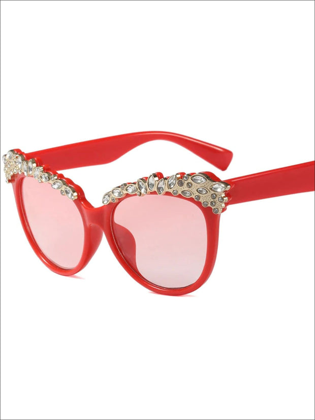 Girls Crystal Embellished Cat Eye Sunglasses - Red - Girls Accessories