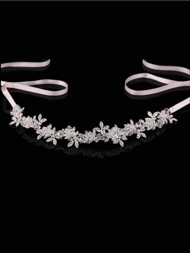 Girls Crystal Rhinestone Satin Ribbon Headpiece - Hair Accessories