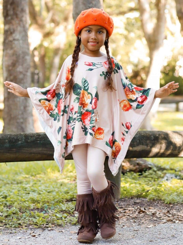 Girls Cuffed Poncho Top & Leggings Set - Girls Fall Casual Set
