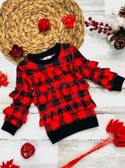 Girls Cuffed Ruffled Sweater - Red / 3T - Girls Sweater