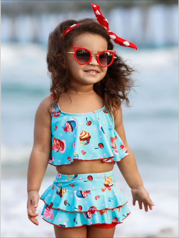 Girls Cupcake Print Ruffled Two Piece Swimsuit - Girls Two Piece Swimsuit