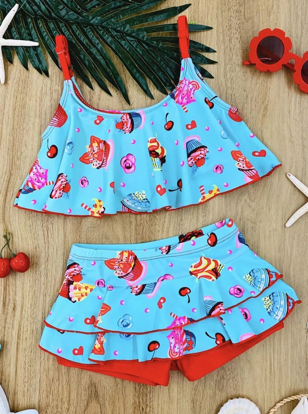 Girls Cupcake Print Ruffled Two Piece Swimsuit - Aqua / 4T/5Y - Girls Two Piece Swimsuit