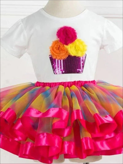 Girls Cupcake T-Shirt & Multicolor Tutu Skirt Set - Pink Rainbow / 2T - Girls Spring Casual Set
