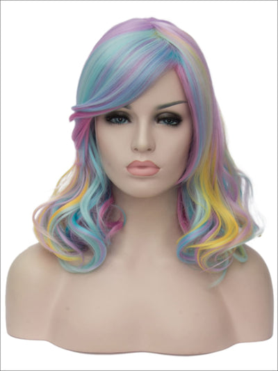 Girls Curly Rainbow Colored Wig - Multicolor - Girls Halloween Costume