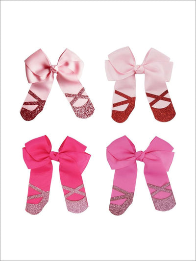 Girls Cute Ballet Shoes Cheer Bows - Hair Accessories