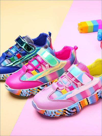 Girls Cute Rainbow Candy Mesh Sneakers - Girls Sneakers