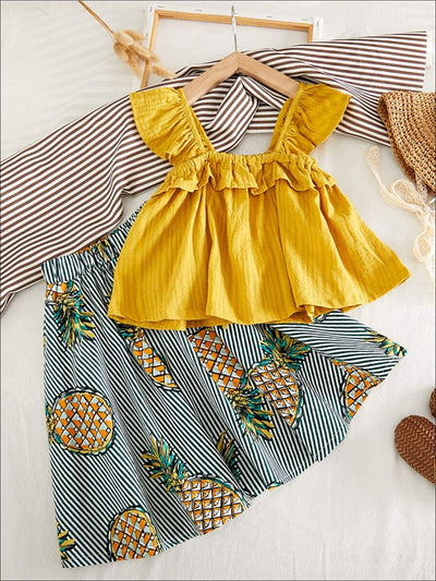 Girls Cute Sleeveless Ruffled Shirt With Pineapple Striped Skirt - Girls Spring Casual Set