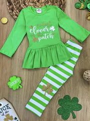 Girls Cutest Clover in the Patch Long Sleeve Ruffled Tunic & Striped Sequin Clover Patch Leggings Set - Green / XS-2T - Girls St. Patricks