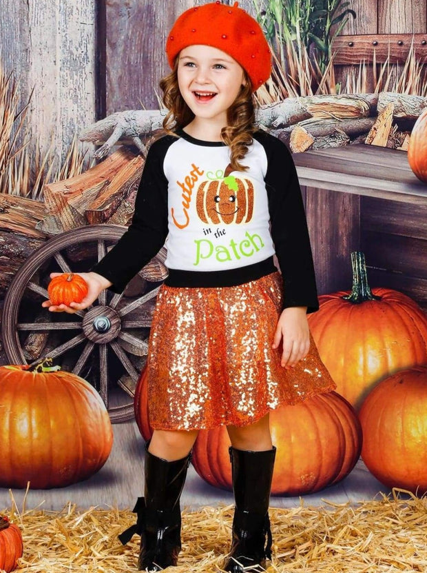 Girls Cutest Pumpkin in the Patch Printed Long Sleeve Raglan Top & Sequin Skirt Set - Girls Fall Casual Set
