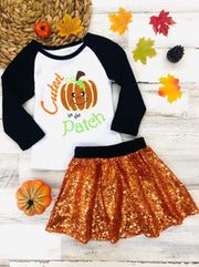 Girls Cutest Pumpkin in the Patch Printed Long Sleeve Raglan Top & Sequin Skirt Set - Orange / S-3T - Girls Fall Casual Set