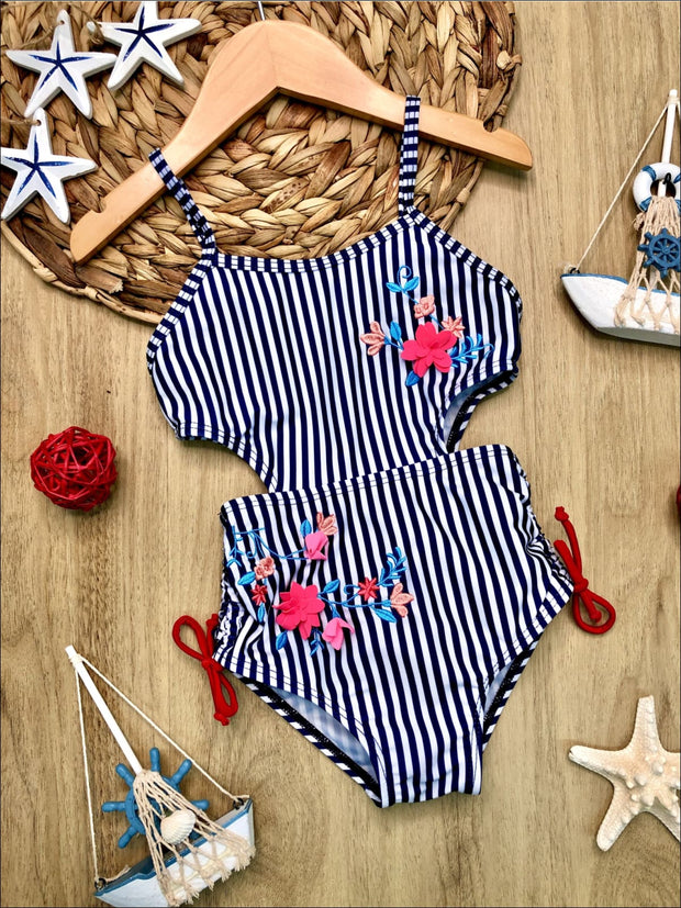 Girls Cutout Floral Striped One Piece Swimsuit - Girls One Piece Swimsuit