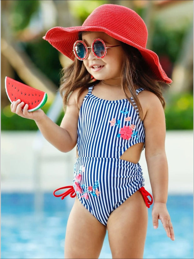 Girls Cutout Floral Striped One Piece Swimsuit - Navy / 2T/3T - Girls One Piece Swimsuit