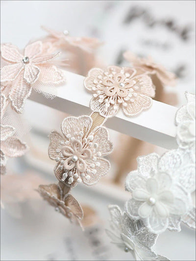 Girls Dainty Floral Lace Headband - Hair Accessories