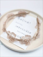 Girls Dainty Floral Lace Headband - Beige - Hair Accessories