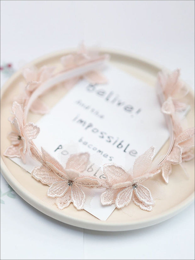 Girls Dainty Floral Lace Headband - Pale Pink - Hair Accessories