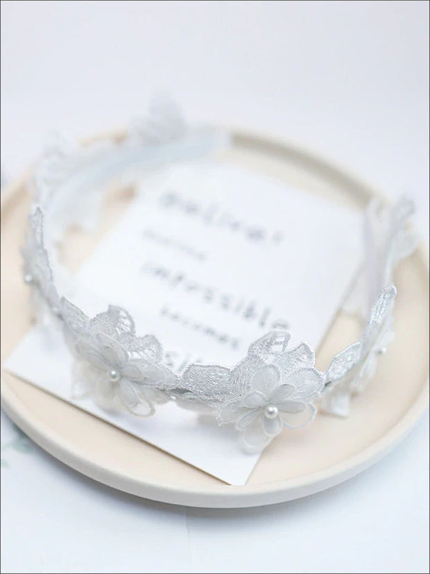 Girls Dainty Floral Lace Headband - White - Hair Accessories