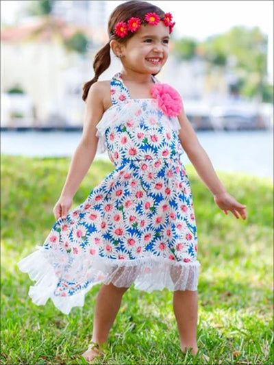 Girls Daisy Print Hi-Low Elastic Waist Sundress with Lace Ruffles - Blue / 2T/3T - Girls Spring Casual Dress