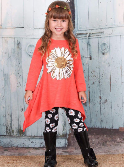 Girls Daisy Sidetail Tunic with Printed Leggings Set - Fall Low Stock