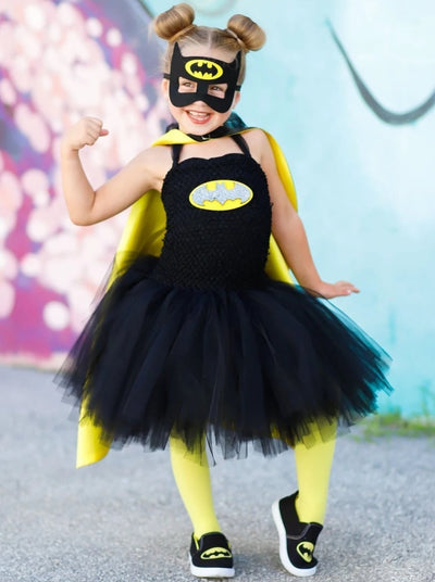 Girls Deluxe Bat Girl Inspired Tutu Dress Halloween Costume - Black / 2T - Girls Halloween Costume