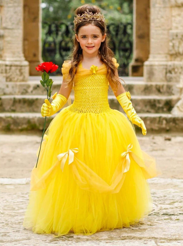 Girls Deluxe Beauty & the Beast Inspired Princess Belle Halloween Tutu Dress - Girls Halloween Costume