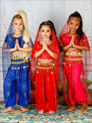 Girls Deluxe Gold Crystal Embellished Arabian Genie Costume - Girls Halloween Costume