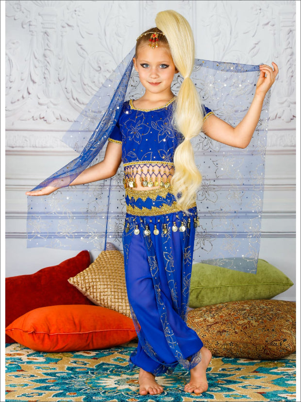 Girls Deluxe Gold Crystal Embellished Arabian Genie Costume - Blue / 3T/4T - Girls Halloween Costume