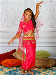 Girls Deluxe Gold Crystal Embellished Arabian Genie Costume - Hot Pink / 3T/4T - Girls Halloween Costume