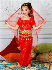 Girls Deluxe Gold Crystal Embellished Arabian Genie Costume - Red / 3T/4T - Girls Halloween Costume