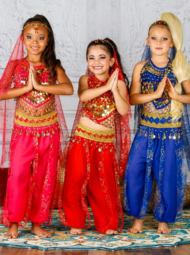 Girls Deluxe Gold Embroidered Arabian Genie Costume - Girls Halloween Costume