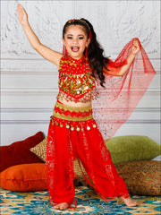 Girls Deluxe Gold Embroidered Arabian Genie Costume - Red / 3T/4T - Girls Halloween Costume