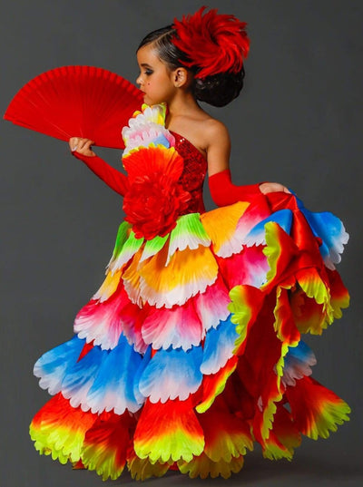 Girls Deluxe Rainbow Spanish Flamenco Dancer Costume - Multicolor / 3T - Girls Halloween Costume