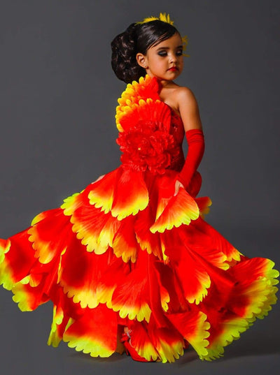 Girls Deluxe Red Spanish Flamenco Dancer Costume - Red / 3T - Girls Halloween Costume