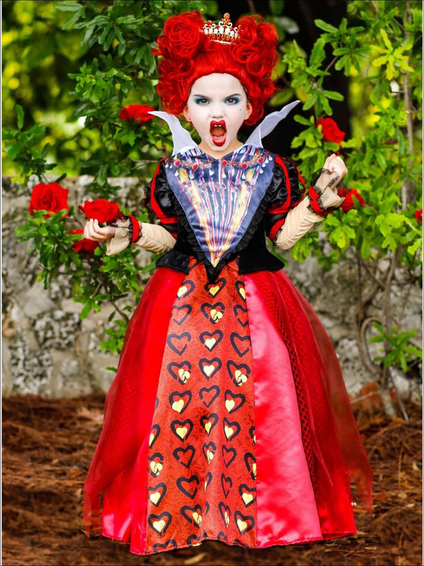 Girls Deluxe Satin and Organza Red Queen of Hearts Halloween Costume Dress - Girls Halloween Costume
