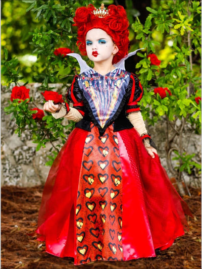 Girls Deluxe Satin and Organza Red Queen of Hearts Halloween Costume Dress - Red / 4T-6Y - Girls Halloween Costume