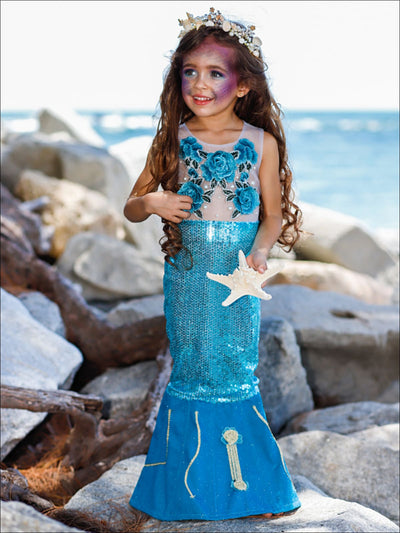 Girls Deluxe Sequin & Pearl Embellished Mermaid Costume Dress - Blue / 3T (with undershirt) - Girls Halloween Costume