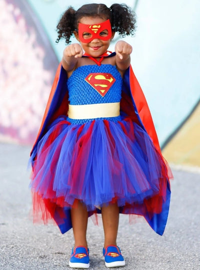 Girls Deluxe Super Girl Inspired Tutu Dress Halloween Costume - Blue / 2T - Girls Halloween Costume