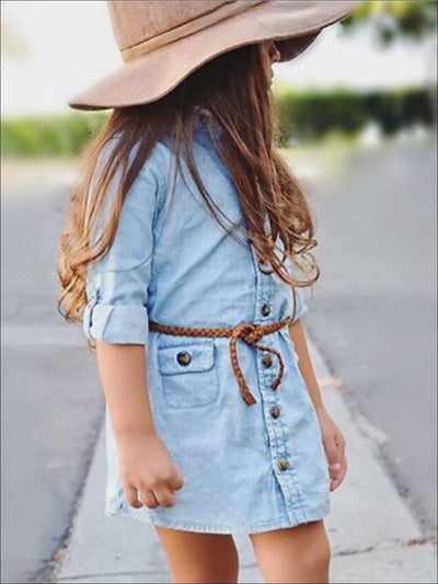 Girls Denim Button Down Collar Dress with Braided Brown Belt - Girls Fall Casual Dress