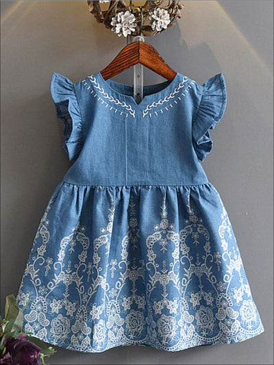 Girls Denim Flutter Sleeve Embroidered Dress - Girls Spring Casual Dress