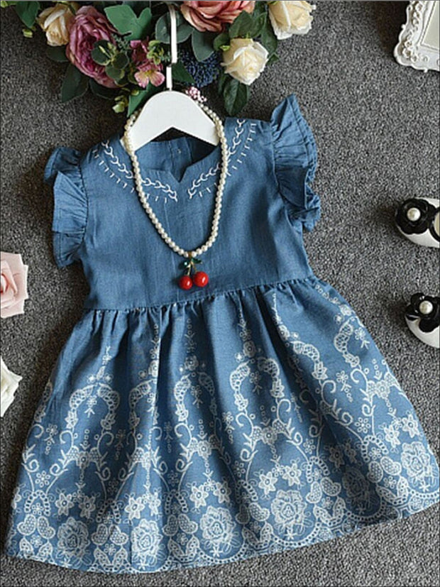 Girls Denim Flutter Sleeve Embroidered Dress - Denim / 3T - Girls Spring Casual Dress