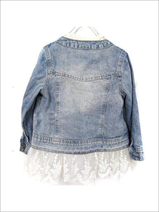 Girls Denim Jacket with Lace Trim - Girls Jacket