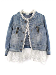 Girls Denim Jacket with Lace Trim - Denim / 5 - Girls Jacket