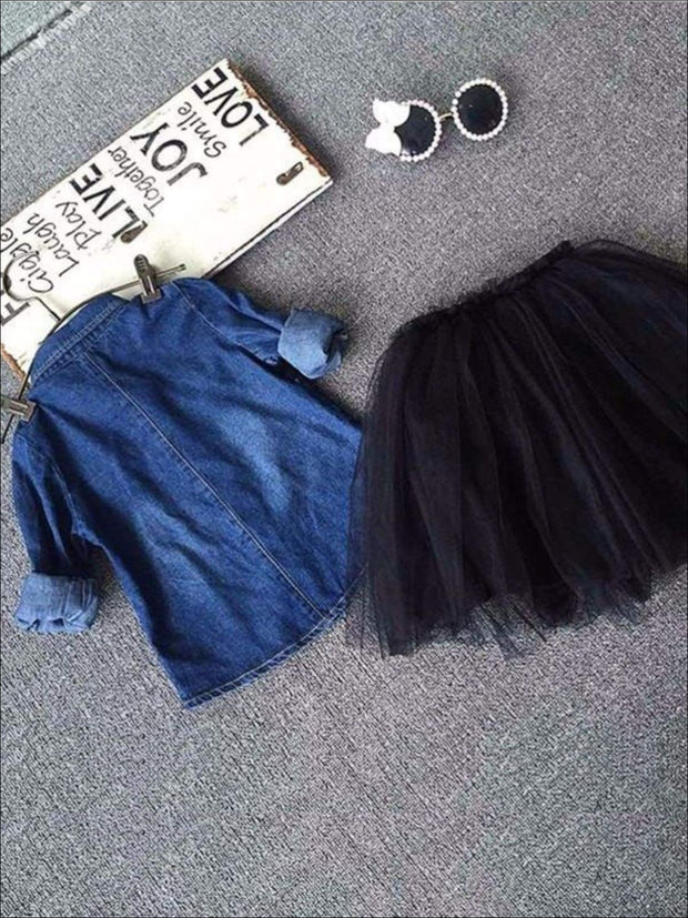 Girls Denim Long Sleeve Blouse & Black Tutu Skirt Set - Girls Fall Casual Set