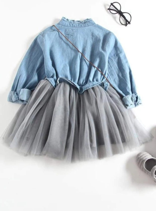 Girls Denim Long Sleeve Tutu Dress (Dark Blue & Light Blue Denim Options) - Girls Fall Casual Dress